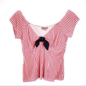 Red Gingham Pinup Couture Off Shoulder Shirt M EUC